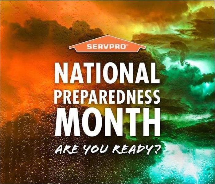 cloudy weather and letters stating that it is National Preparedness month for SERVPRO.