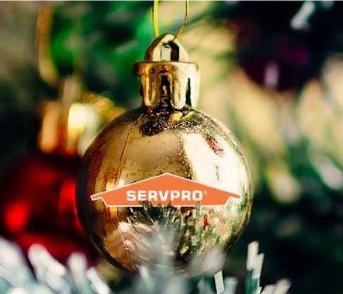 Christmas tree and ornament with SERVPRO written on it